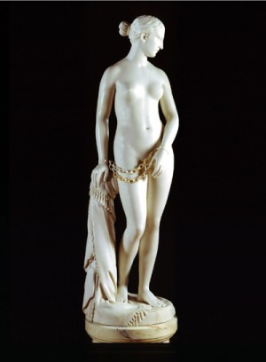 Hiram Powers, The Greek Slave, 1846.  Marble, 65 x 19-1/2 inches  Source: Corcoran Gallery of Art, Gift of William Wilson Corcoran, Accession Number 73.4.