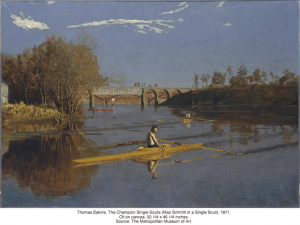 Thomas Eakins, The Champion Single Sculls (Max Schmitt in a Single Scull), 1871. Oil on canvas, 32 1/4 x 46 1/4 inches. Source: The Metropolitan Museum of Art