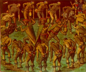 [Figure 2: Theodor de Bry, Shamanic tobacco dance among the Tupinambà Indians of Brazil.]