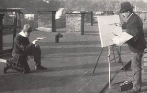 [Figure 10: Unidentified photographer, Charles Schreyvogel Painting on the Roof of His Apartment Building in Hoboken, New Jersey, 1903.]