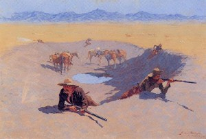 [Figure 11: Frederick Remington, Fight for the Water Hole, 1903.]