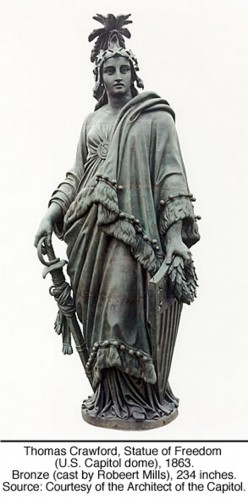 Thomas Crawford, Statue of Freedom (U.S. Capitol dome), 1863. Bronze (cast by Robeert Mills), 234 inches. Source: Courtesy of the Architect of the Capitol