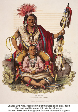Charles Bird King, Keokuk: Chief of the Sacs and Foxes, 1838. Hand-colored lithograph, 20 1/4 x 14 1/2 inches. Source: Prints and Photographs Division, Library of Congress