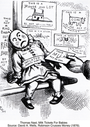 Thomas Nast, Milk Tickets For Babies Source: David A. Wells, Robinson Crusoes Money (1876).
