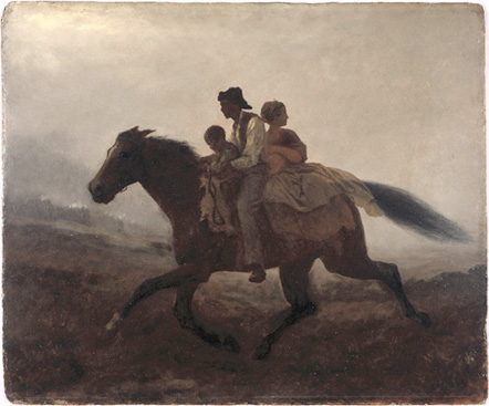 Eastman Johnson, The Ride for Liberty- The Fugitive Slaves, c. 1862. Oil on board, 21 15/16 x 26 1/8 inches. Source: The Brooklyn Museum. Gift of Miss Gwendolyn O. L. Conkling.
