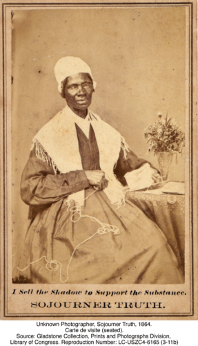 Unknown Photographer, Sojourner Truth, 1864. Carte de visite (seated). Source: Gladstone Collection, Prints and Photographs Division, Library of Congress. Reproduction Number: LC-USZC4-6165 (3-11b)
