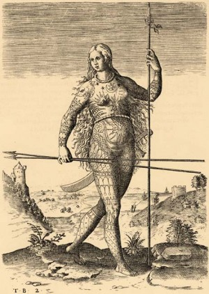 [Figure 6: Theodor de Bry (after John White), The true picture of a woman Picte.]